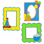 Paper Wizard - You Say Its Your Birthday Collection - Die Cuts - Frames - Blue