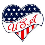 Paper Wizard - Stars and Stripes Collection - Die Cuts - USA Heart Banner