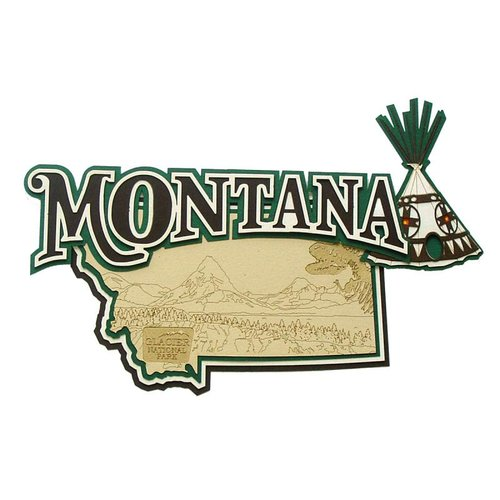 Paper Wizard - Altered States Collection - Die Cuts - Map of Montana