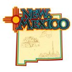 Paper Wizard - Altered States Collection - Die Cuts - Map of New Mexico