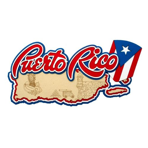 Paper Wizard - Country Maps Collection - Die Cuts - Map of Puerto Rico