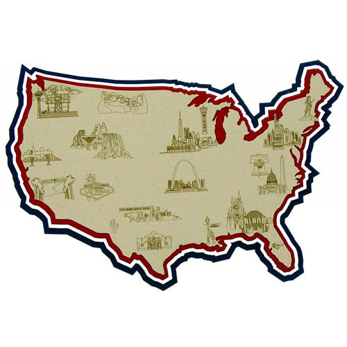 Paper Wizard - Country Maps Collection - Die Cuts - Map of United States