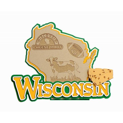 Paper Wizard - Altered States Collection - Die Cuts - Map of Wisconsin