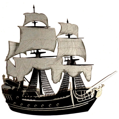Paper Wizard - Pirates Collection - Die Cuts - Pirate Ship - Black and Silver