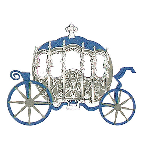 Paper Wizard - Once Upon a Time Collection - Die Cuts - Princess Carriage - Silver
