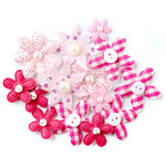 Queen and Company - Blossoms - Fabric Flowers - Pink