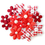 Queen and Company - Blossoms - Fabric Flowers - Red