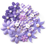 Queen and Company - Blossoms - Fabric Flowers - Purple