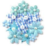 Queen and Company - Blossoms - Fabric Flowers - Blue
