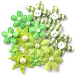 Queen and Company - Blossoms - Fabric Flowers - Green