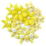 Queen and Company - Blossoms - Fabric Flowers - Yellow