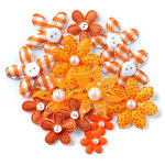 Queen and Company - Blossoms - Fabric Flowers - Orange