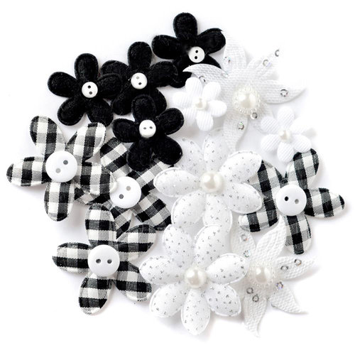Queen and Company - Blossoms - Fabric Flowers - Black