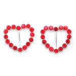 Queen and Company - Bling - Jeweled Ribbon Buckles - Heart Red