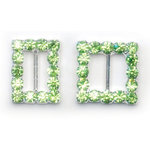 Queen and Company - Bling - Jeweled Ribbon Buckles - Square Green