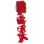 Queen and Company - Self Adhesive Felt Fusion Ribbon - 1.6 Inches - Vehicles - Red