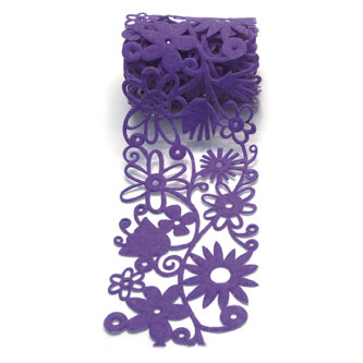Queen and Company - Self Adhesive Felt Fusion Ribbon - 2.7 Inches - Floral - Purple