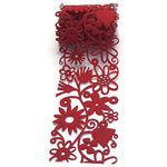 Queen and Company - Self Adhesive Felt Fusion Ribbon - 2.7 Inches - Floral - Red