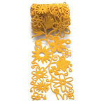 Queen and Company - Self Adhesive Felt Fusion Ribbon - 2.7 Inches - Floral - Yellow