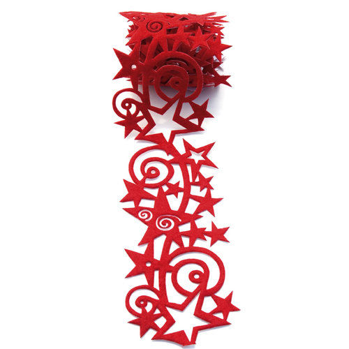 Queen and Company - Self Adhesive Felt Fusion Ribbon - 2.7 Inches - Star Swirl - Red