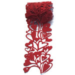 Queen and Company - Self Adhesive Felt Fusion Ribbon - 2.7 Inches - Hearts - Red