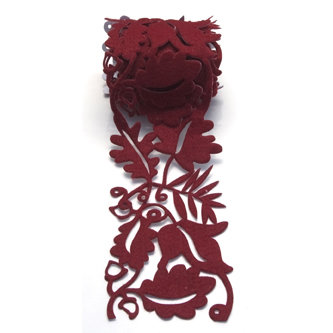 Queen and Company - Self Adhesive Felt Fusion Ribbon - 2.7 Inches - Fall Leaves - Rust, CLEARANCE
