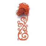 Queen and Company - Self Adhesive Felt Fusion Ribbon - 1.6 Inches - Scrolls - Orange