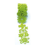 Queen and Company - Self Adhesive Felt Fusion Ribbon - 1.6 Inches - Floral - Green