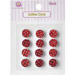Queen and Company - Bling - Self Adhesive Rhinestones - Glitter Dots - Red