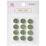 Queen and Company - Bling - Self Adhesive Rhinestones - Glitter Dots - Green