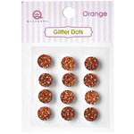 Queen and Company - Bling - Self Adhesive Rhinestones - Glitter Dots - Orange