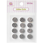Queen and Company - Bling - Self Adhesive Rhinestones - Glitter Dots - White