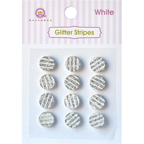 Queen and Company - Bling - Self Adhesive Rhinestones - Glitter Stripes - White