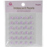 Queen and Company - Bling - Self Adhesive Iridescent Pearls - Purple