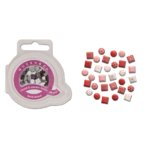 Queen and Company - Mini Square and Round Brads - 44 pieces - Real Red, CLEARANCE