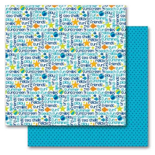 Queen and Company - Summer Collection - 12 x 12 Double Sided Paper - Summer Words
