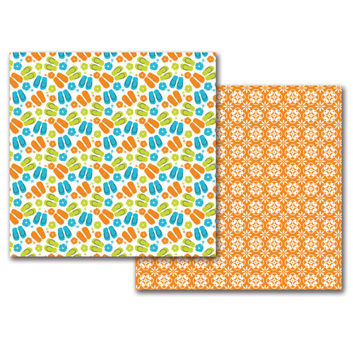 Queen and Company - 12 x 12 Double Sided Paper - Summer Flip Flops