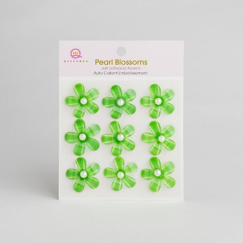 Queen and Company - Self Adhesive Pearl Blossoms - Green