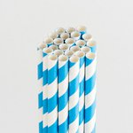 Queen and Company - Perfect Party Collection - Drinking Straws - Stripe - Blueberry Bliss
