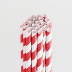 Queen and Company - Perfect Party Collection - Drinking Straws - Stripe - Cherry Bomb