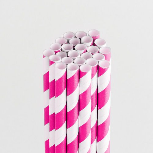 Queen and Company - Perfect Party Collection - Drinking Straws - Stripe - Cotton Candy