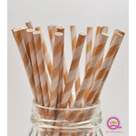 Queen and Company - Stylish Stix - Paper Straws - White Stripe