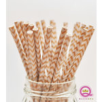 Queen and Company - Stylish Stix - Paper Straws - White Chevron