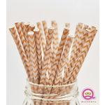 Queen and Company - Stylish Stix - Paper Straws - White Chevron