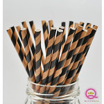 Queen and Company - Stylish Stix - Paper Straws - Black and Tan Stripes