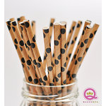 Queen and Company - Stylish Stix - Paper Straws - Black and Tan Dots
