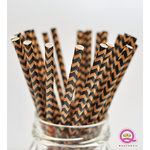 Queen and Company - Stylish Stix - Paper Straws - Black and Tan Chevron