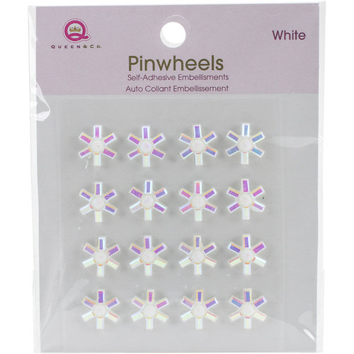 Queen and Company - Bling - Self Adhesive Pinwheels - White