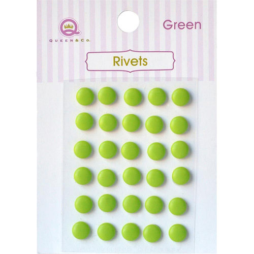 Queen and Company - Bling - Self Adhesive Rhinestones - Rivets - Green