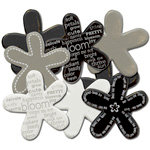 Queen and Company - Bold Flower Brads - 8 pieces - Bold Black, CLEARANCE